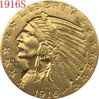 24 K chapado en oro 1916-S $5 oro indio medio águila copia de monedas