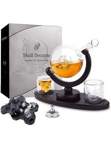 Decanter-Set Liquor Shot Glasses Whiskey Trays-Liquor-Dispenser Skull Vodka Bourbon Wooden