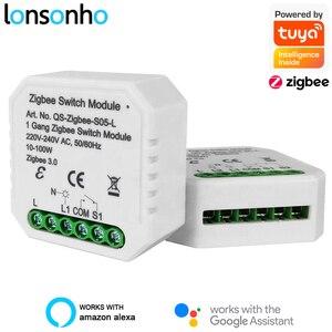 Lonsonho Tuya Zigbee Smart Switch Module No /With Neutral EU 220V 2 Way Wireless Light Switch Relay Zibee2MQTT Home Assistant