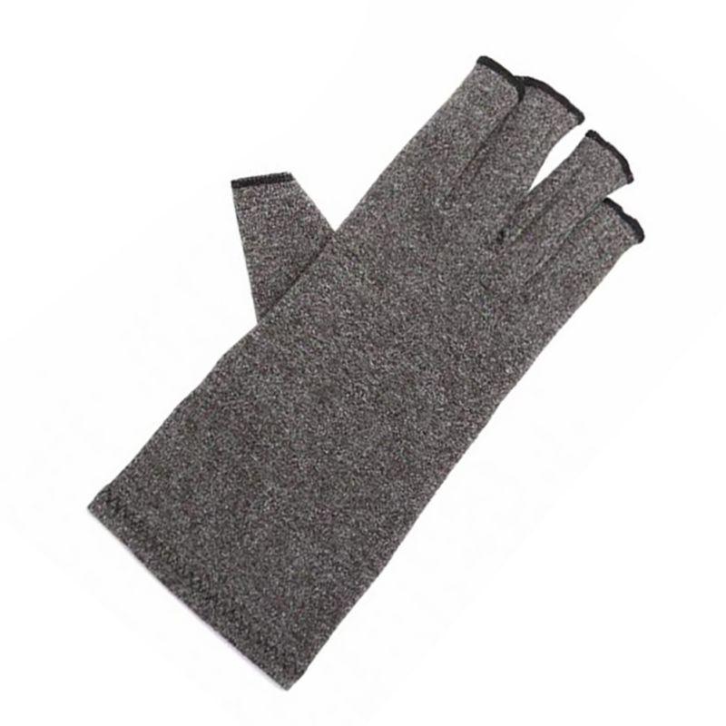 Grey Elastic Fingerless Gloves With Novel Protect Design For Both  Cotton Gloves For Anti-arthritis Health Treatment 1