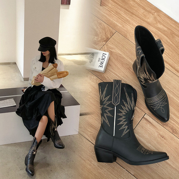 Embroider Women Boots Med Heels Retro Knight Boots Female Genuine Leather Botas Mujer Western Cowboy Sale Boots2019