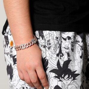 Image 5 - TOPGRILLZ najnowszy mikro betonowa bagietka cyrkon kubańska bransoletka Iced Out Bling Hip hop biżuteria złoto srebrny płyta CZ kubański łańcuch 14mm