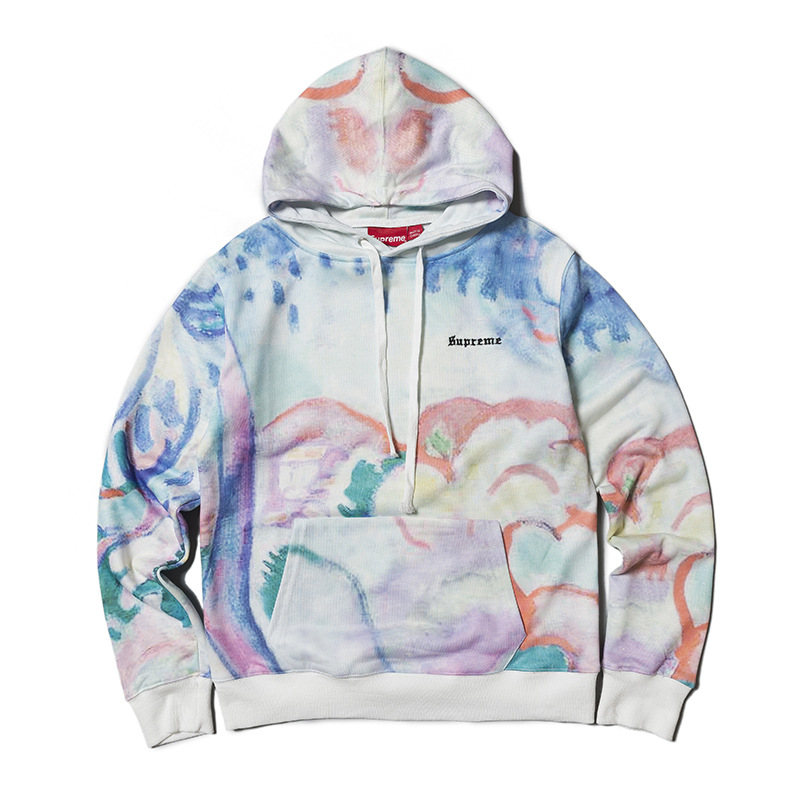 18ss Europe And America Streetwear Women's Tie-dye Watercolor Crayon Men And Women Couples Looped Pile Coat Hoodie High Quality