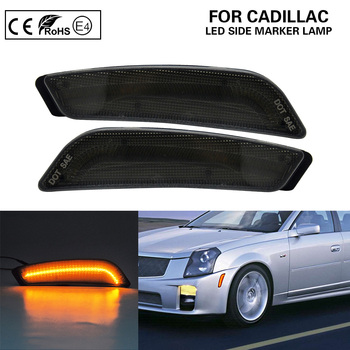 Smoke Front Bumper LED Side Marker Lights Parking Lamp For Cadillac CTS CTS V 2003-2007 image