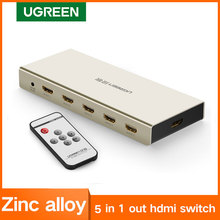 UGREEN HDMI מתג 4K x 2K 5 יציאת 5 ב 1 HDMI ספליטר Switcher תיבה תומך 3D תואם עבור טלוויזיות Hdtv Blu ray שחקנים Xbox PS3/4