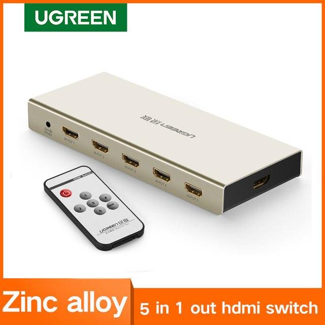 UGREEN HDMI التبديل 4K x 2K 5 ميناء 5 في 1 مقسم الوصلات البينية متعددة الوسائط وعالية الوضوح (HDMI) الجلاد صندوق يدعم ثلاثية الأبعاد متوافقة ل HDTVs بلو راي اللاعبين Xbox PS3/4