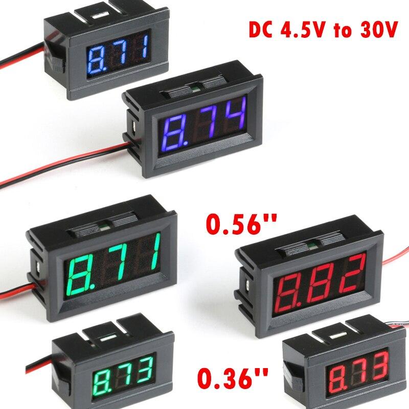 Мини цифровой вольтметр, тестер постоянного тока от 4,5 В до 30 В, цифровой вольтметр, панель напряжения, красный/синий/зеленый Вольтметр для электромобиля или мотоцикла автомобиля