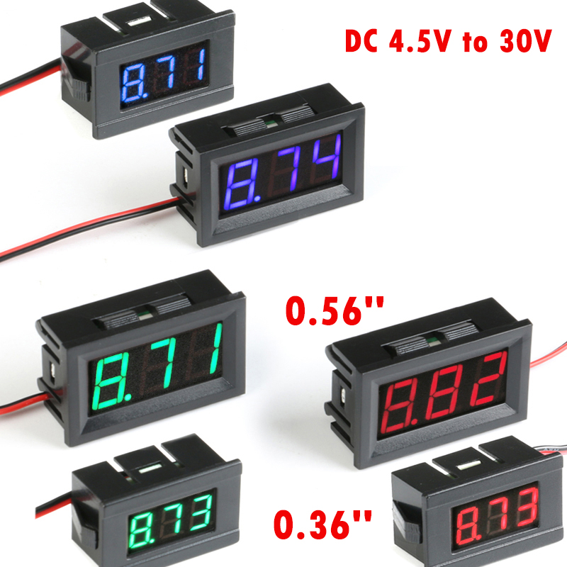 Мини цифровой вольтметр, тестер постоянного тока от 4,5 В до 30 В, цифровой вольтметр, панель напряжения, красный/синий/зеленый Вольтметр для э...