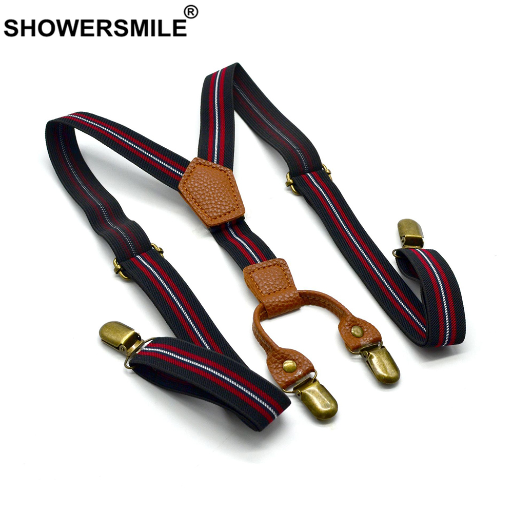 SHOWERSMILE Women Suspenders Stripe Black Braces Suspenders Men Classic Elastic Fashion 100cm 4 Clips Y Back Pants Strap Unisex