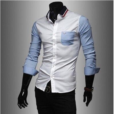 AliExpress Men'S Wear Hot Selling European Version Of Korean-style Long Sleeve Slim Fit Shirt Knit Collar MEN'S Shirt Fashion