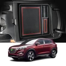 Lfotpp braço do carro central caixa de armazenamento para tucson 2th 2016 2017 2018 corrimão do carro resolver caixa de armazenamento acessórios interiores automóveis