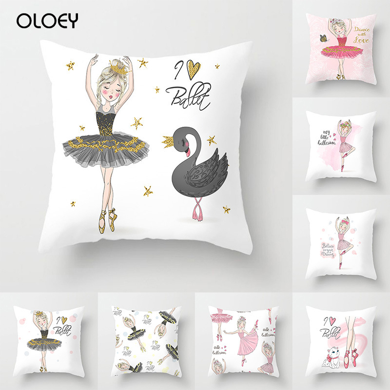 Litchi Life Ballet Girl Printed Pillowcase Polyester Decorative Pillowcase Square 45x45cm Home Office Pillowcase Decoration   ..