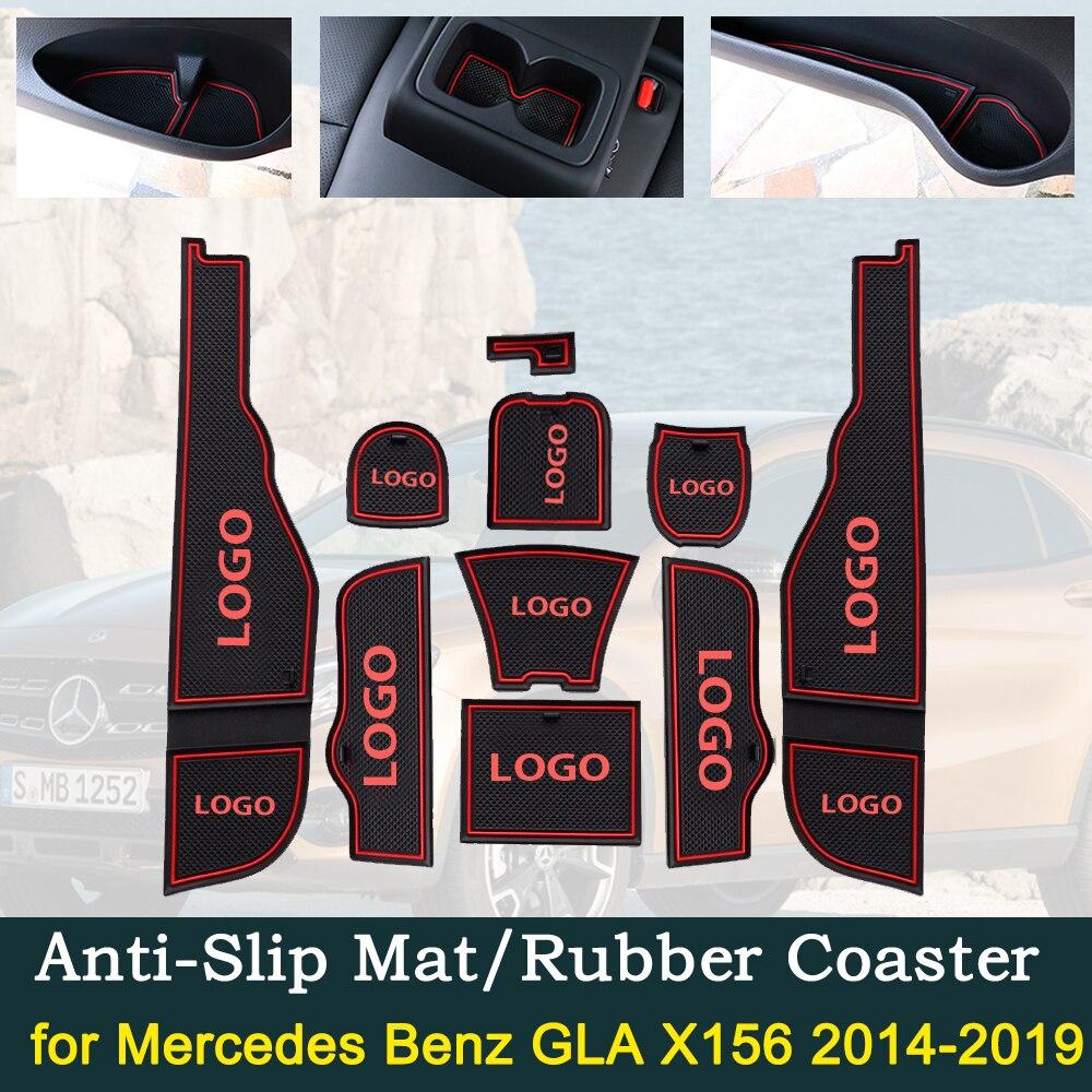 Anti~slip Door Rubber Cup Cushion For Mercedes Benz GLA X156 2014~2019 GLA180 GLA200 GLA220 GLA250 GLA45 Interior Accessories