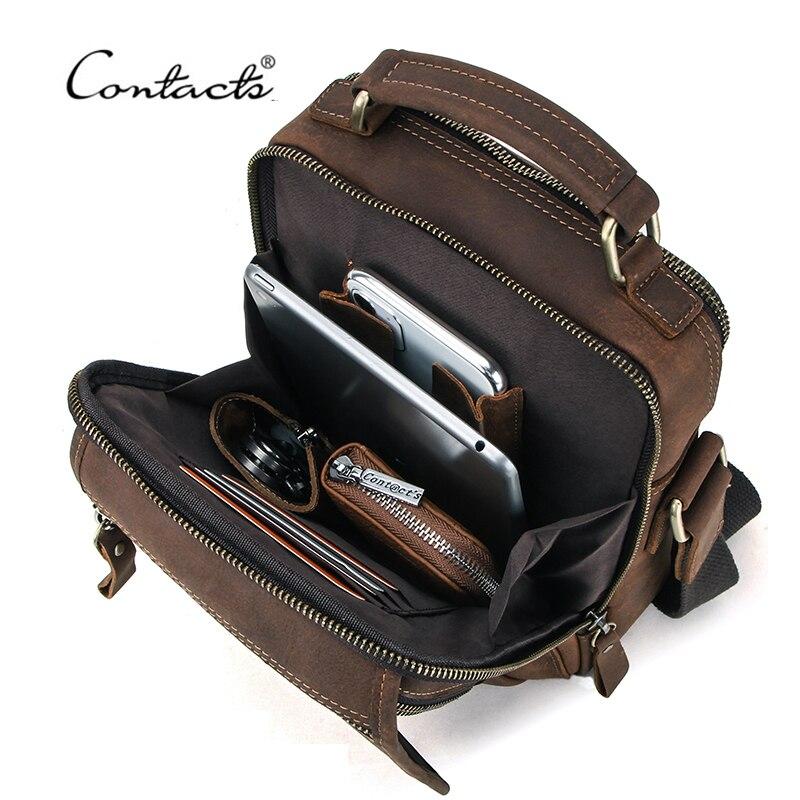 CONTACT'S Crazy Horse Leather Men Messenger Bag Vintage Man HandBags For 7.9