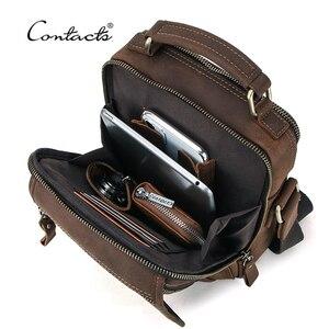 "CONTACT'S Crazy Horse Leather Men Messenger Bag Vintage Man HandBags for 7.9"" iPad High Quality Shoulder Bags Tote Crossbody Bag(China)"