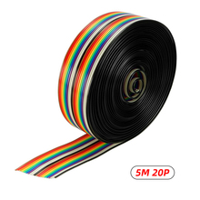 5M 2.6cm 20P  Flat Color Ribbon DuPont Cable Rainbow Flat Line Support Wire Soldered Cable Connector Wire Pitch 1m 3 3ft flat cable 40 pin rainbow ribbon idc cable wire rainbow cable in stock