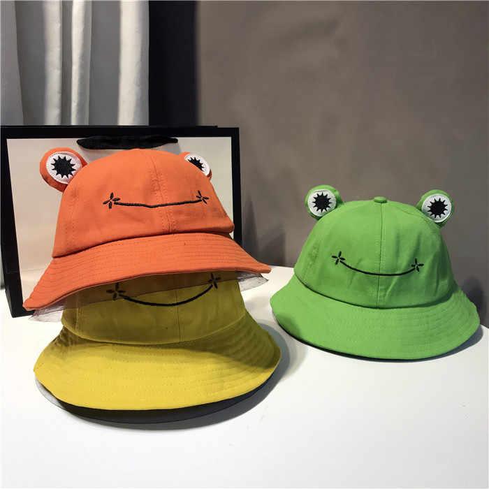 Nowa śliczna żaba list kapelusze wiadro kobiety pokrywa rybak czapka kapelusz dla dorosłych kobiet ochrony przeciwsłonecznej lato wycieczka kapelusz obecny
