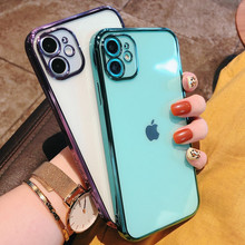 Miękki kwadratowy przezroczysty silikonowy futerał na telefon dla iPhone 11 12 mini Pro Max XS X XR Max 7 8 Plus SE 2020 galwanicznie skrzynki pokrywa tanie tanio CN (pochodzenie) Aneks Skrzynki Apple iphone ów IPhone 7 IPhone 7 Plus IPHONE 8 PLUS IPHONE X IPHONE XS MAX IPHONE XR