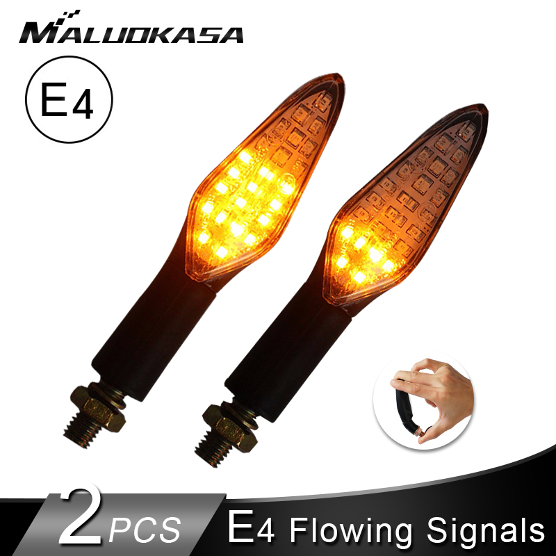 Motorcycle Turn Signals Light E4 Mark Built Relay Flowing Flashing Light 20LED Blinker Bendable Tail Signal For Honda Waterproof