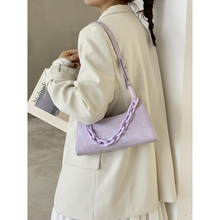Summer Bags Purple Underarm Bag Female 2020 New Popular Net Red French Popular Texture Acrylic Baguette Bag