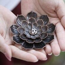 Quemador de incienso de aleación placa soporte plato quemador bobina budista incensario con forma de flor de loto patillas budistas Yoga estudios línea de incienso