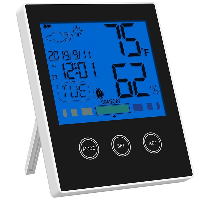 Thermo-Hygrometer Thermometer Hygrometer Indoor Air Monitoring Temperature And Humidity Meter With Backlight (Black)