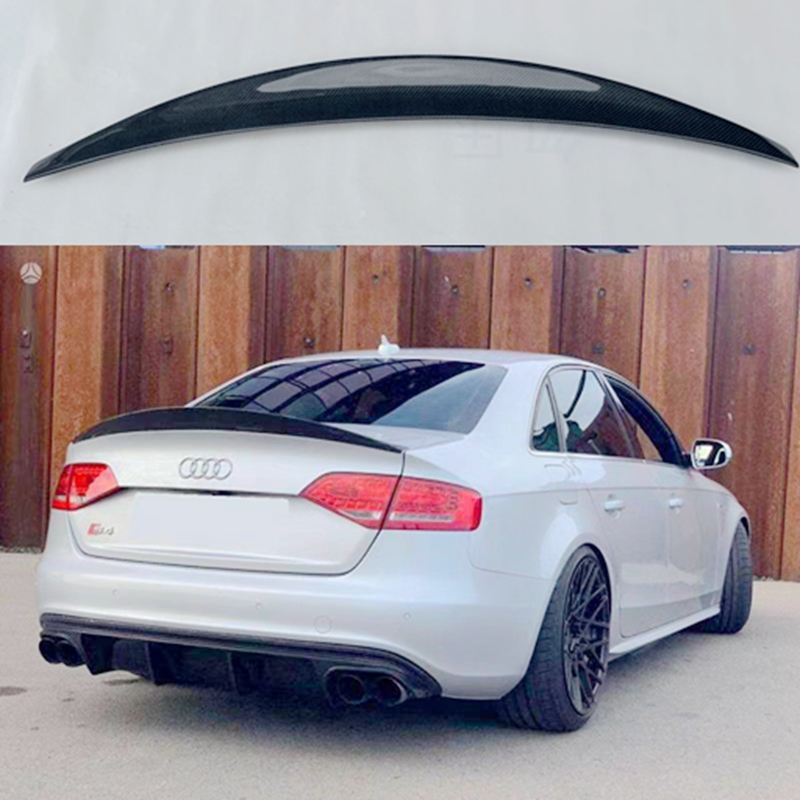 Para Audi A4 S4 B8 B8.5 sedán de 4 puertas 2009 2012 2016 estilo HK alta calidad de fibra de carbono alerón trasero techo caja decorada alerón