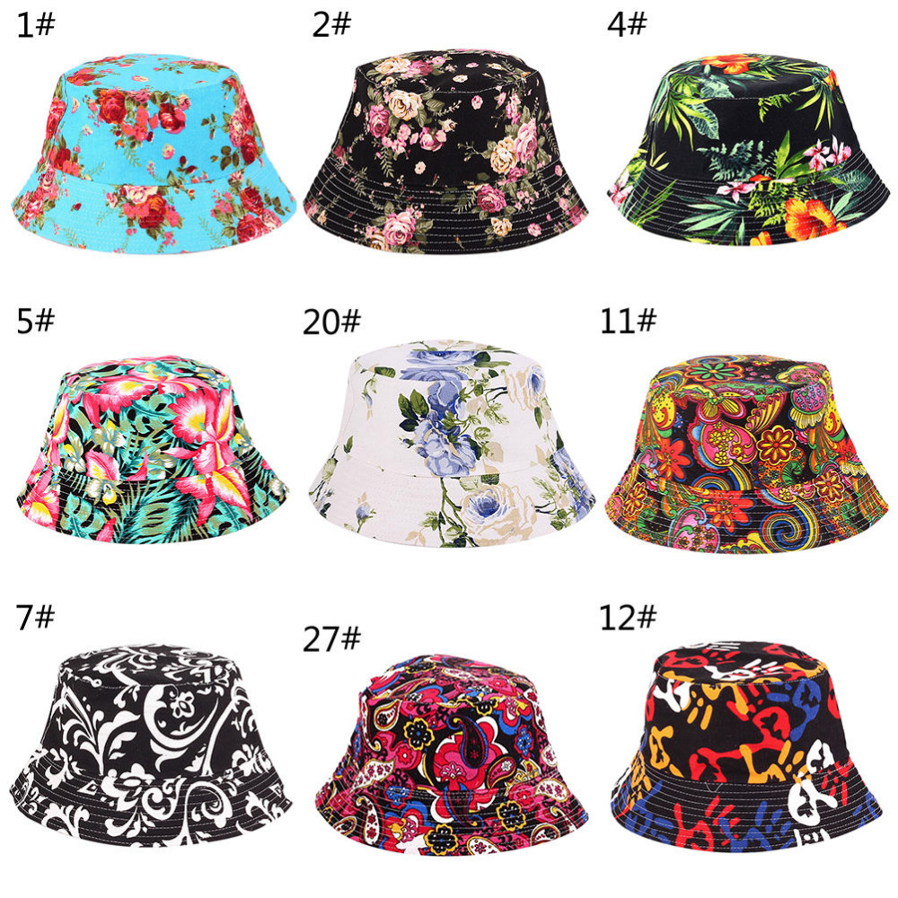 New Summer Floral Sun Hat Bucket Funny Summer Holiday Novelty Beach Outdoor Cap Fishing Hats Sun Protetion For Men Women