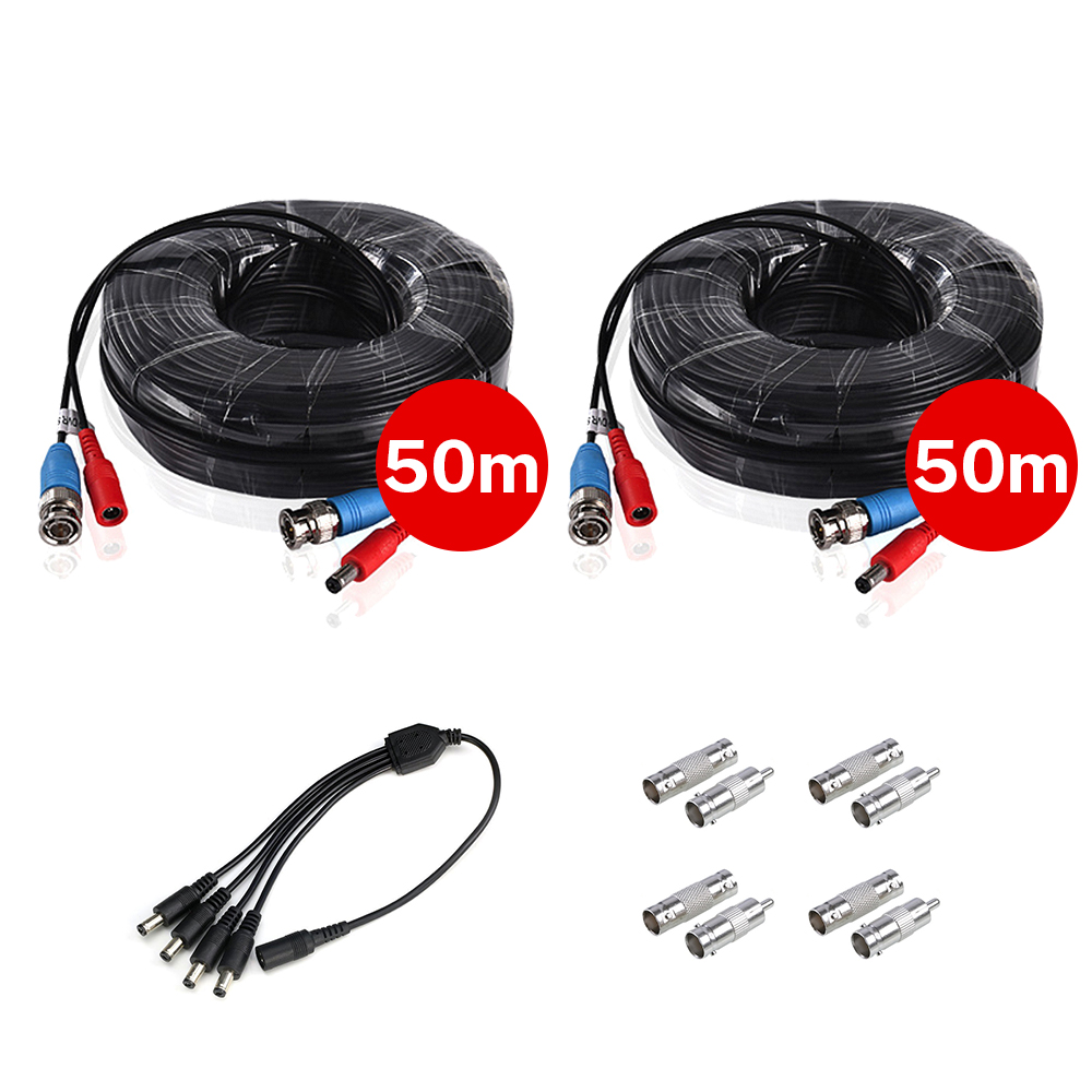 2PCS 50M/164ft BNC&DC Plug Video Power Cable With 1pcs 4-in-1 Power Splitter Cable For AHD Video Surveillance System Accessories