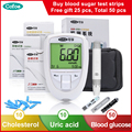Cofoe 3 in 1 Cholesterol & Uric acid & Blood Glucose Meter Suit Medical Monitoring System Health Care Glucometer for Diabetes