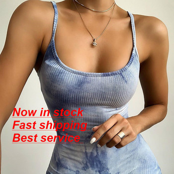 Women's Jumpsuits Summer Playsuits Tie-Dye Print U-Neck Sleeveless Romper Suits Tight Bodysuit