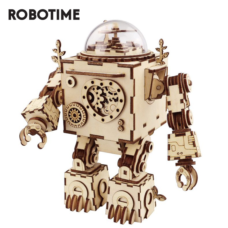 Building-Kit Steampunk Robot Music-Box Wooden Robotime Rokr Assembly Model AM601 Puzzle