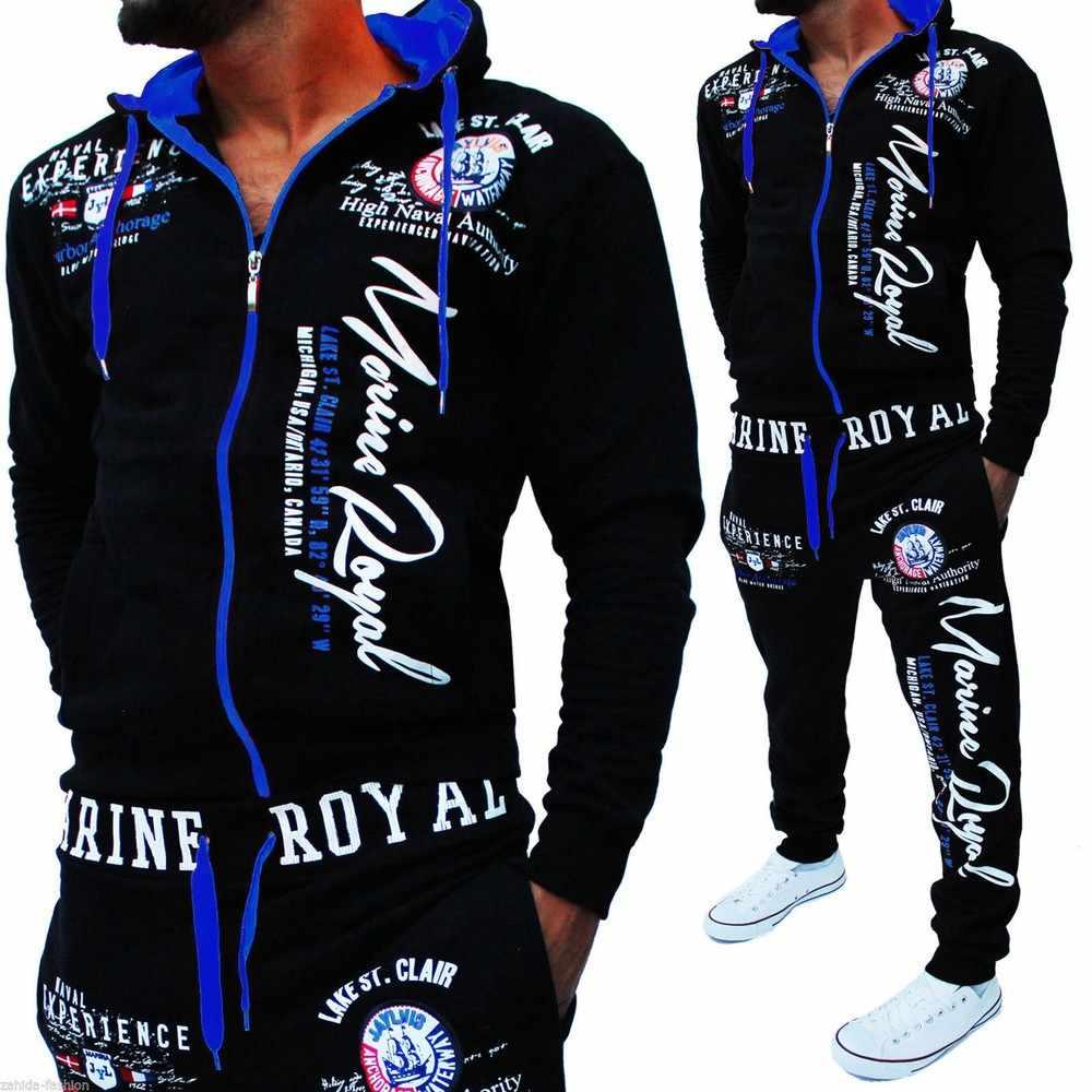Zogaa מותג Mens אימונית 2 חתיכה אביב סתיו ספורט חליפת ברדס סיבתי סווטשירט ומכנסיים התאמת סט עבור גברים