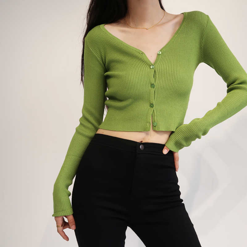 Women V Neck Fitted Rib Crop Cardigan Button Up Knit Crop Top