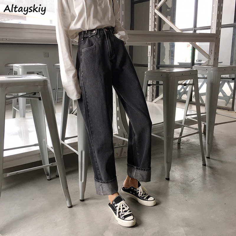 Jeans Women Autumn Novelty Korean Fashion Streetwear New Solid Wash Loose High Waist Trousers Womens Borfriend Casual Straight