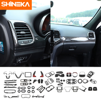 SHINEKA-pegatinas de fibra de carbono para decoración interior de coche, accesorios para Jeep Grand Cherokee 2014 +