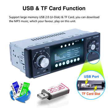 4.1 Inch Car Radio 1 Din Android Fm Hd Multimedia Radio Car Auto Audio Stereo Bluetooth Autoradio Support Rear View Camera image