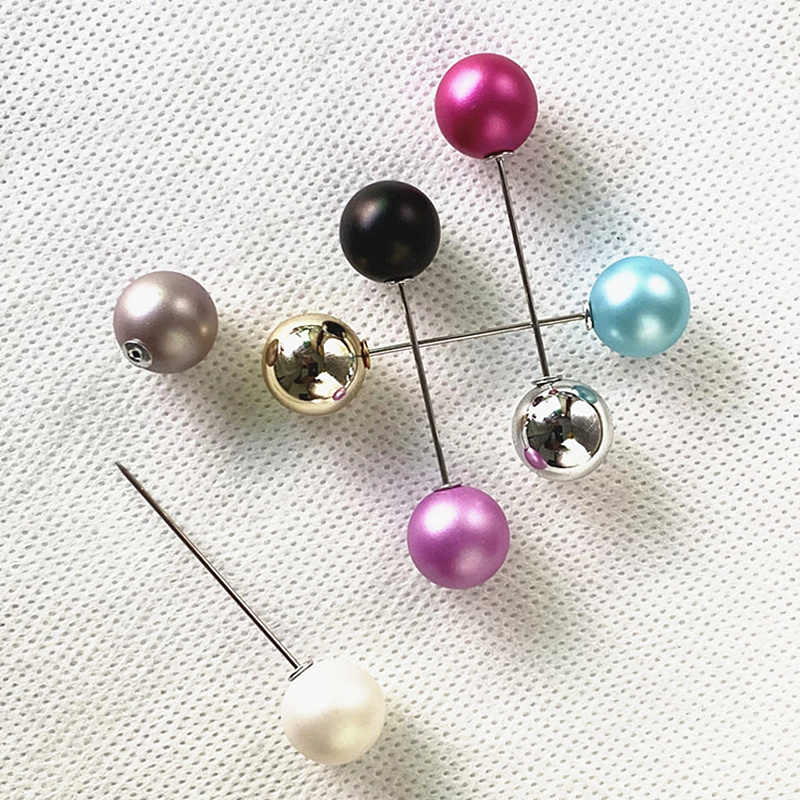 Classic Style Double Imitation Pearl Brooches Pin For Women Scarf Clip Lapel Pin Clothing Accessories DIY Frosted Ball Brooch