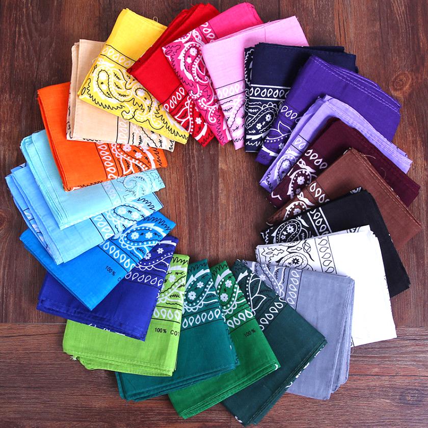 2021 Headband Unisex Fashion Cotton Bandana Square Scarf for Women Men Headband Headwear Double Sided Head Wrap Hair Accessories