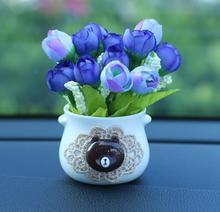 8pcs Car Ornaments Simulation Plant Flowerpot Chrysanthemum Rose Interior Decoration Accessories Living Room Bedroom Perfume