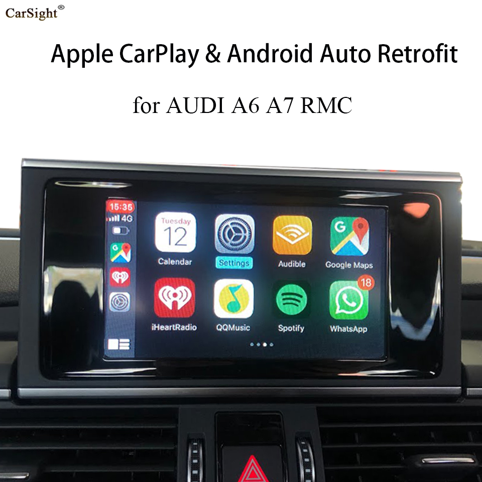 Wireless CarPlay Android Auto Retrofit Module for <font><b>AUDI</b></font> <font><b>A6</b></font> A7 C6 C7 RMC <font><b>Navigation</b></font> Support Latest IOS 13 Reversing Camera image