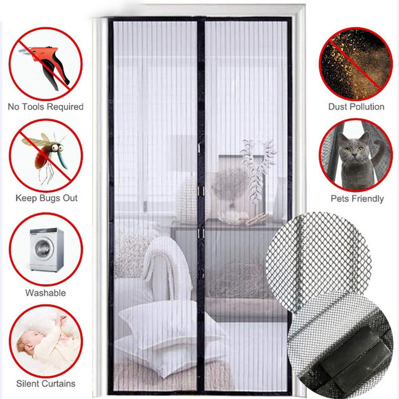 2021 5 Size Summer Magnetic Screen Door Curtain Net Anti Mosquito Insect Fly Bug Room Divider Automatic Closing Magnetic Bug