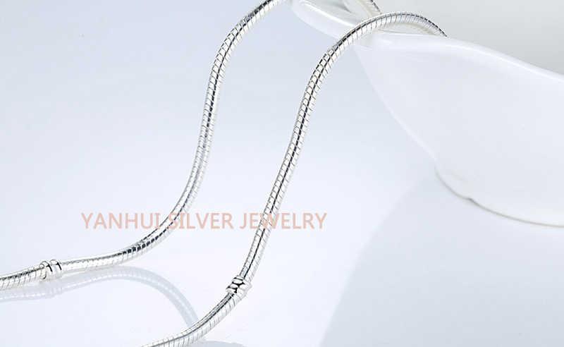 2020 gorąca sprzedaż grzywny 3mm 45CM 925 srebrny łańcuszek żmijka naszyjnik łańcuch z certyfikatem Fit oryginalne koraliki Charms wisiorki/biżuteria do własnoręcznego wykonania prezent