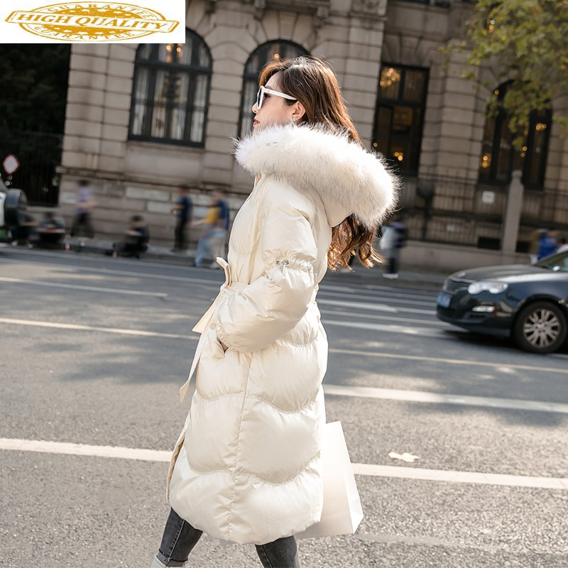 Women's Down Jacket 2020 Long Winter White Duck Down Coat Hooded Raccoon Fur Collar Korean Puffer Jacket Clothes KJ3535