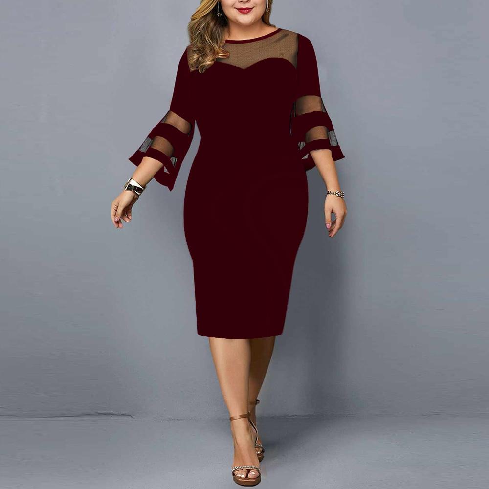 Plus Size Dress Women Evening Party Dresses 2021 New Elegant Mesh Sleeve