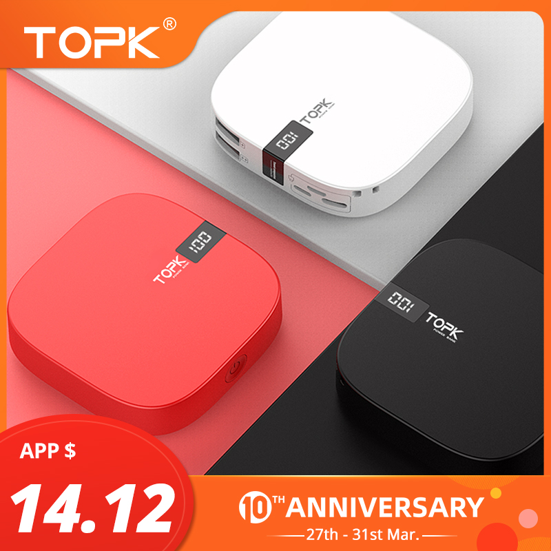 TOPK 10000mAh Power Bank Dual USB Mini Portable Mobile Phone External Battery Powerbank For IPhone Samsung Xiaomi