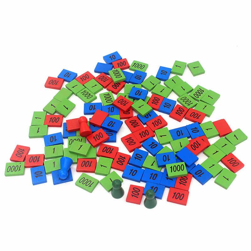 新しいホットモンテッソーリ材の木製おもちゃスタンプゲームホーム版木材ラベルスタンプ数学おもちゃ早期教育開発