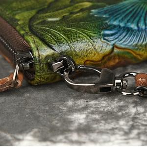 Image 5 - Damski portfel kopertówka damski zamek błyskawiczny saszetka na telefon portfele damskie torebka kwiat grawerowane prawdziwej skóry
