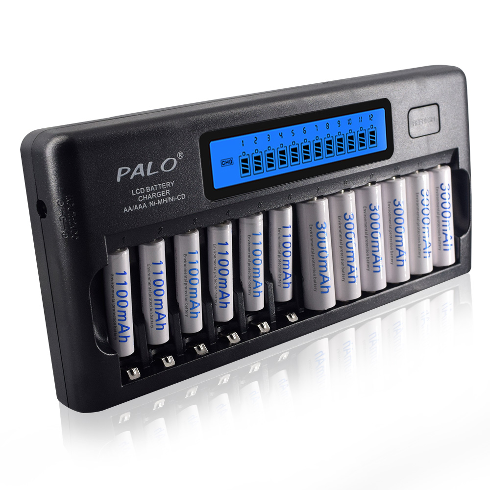 PALO 12 slot AA battery charger quick charge discharge AAA smart LCD charger for 1.2V 2A 3A aa aaa rechargeable battery charger|Chargers| |  - title=