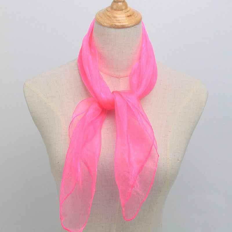 Pañuelo de cuello cuadrado de seda de brillo marinero Unisex de 60x60CM Color caramelo lazo de señora pañuelo de baile de tul transparente envoltura de cabeza 12 colores